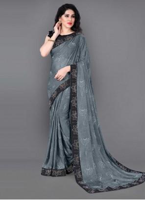 Lycra Grey Lace Classic Saree