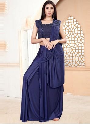 Lycra Handwork Blue Classic Saree