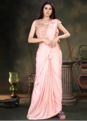 Lycra Handwork Classic Designer Saree in Peach