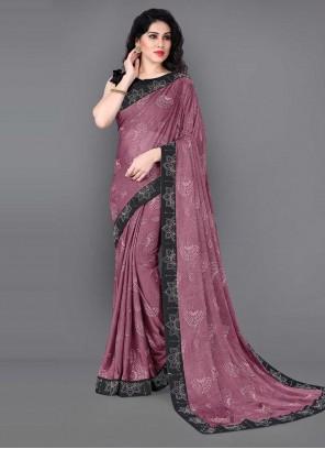 Lycra Lace Pink Classic Saree