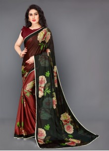 Lycra Multi Colour Floral Print Trendy Saree