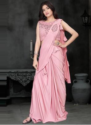 Lycra Pink Classic Saree