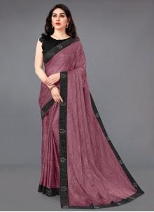 Lycra Pink Designer Saree