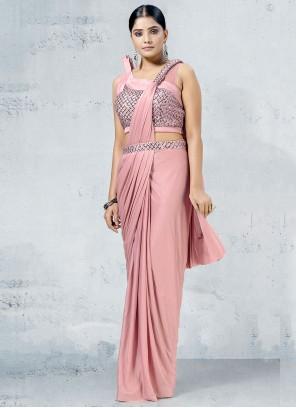 Lycra Pink Fancy Designer Saree