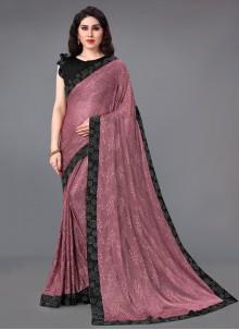Lycra Pink Lace Classic Saree