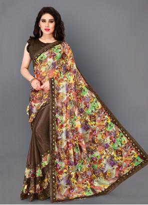 Lycra Printed Brown Designer Saree