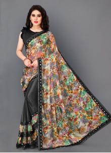 Black Lycra Printed Trendy Saree