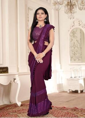 Lycra Purple Sequins Classic Designer Saree