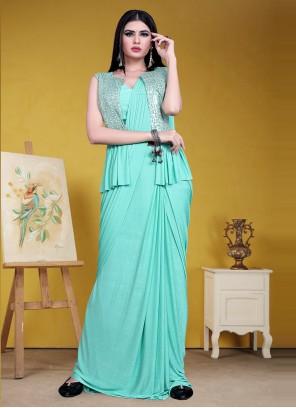 Lycra Sequins Designer Saree in Blue