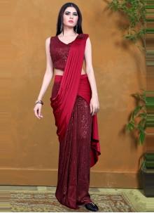 Lycra Sequins Maroon Designer Saree