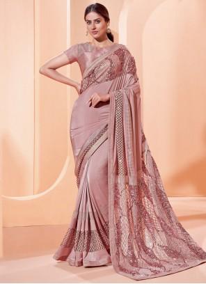Lycra Sequins Trendy Saree in Pink