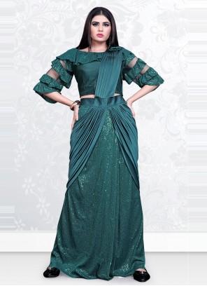Lycra Teal Sequins Designer Saree