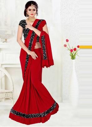 Red Lycra Trendy Saree