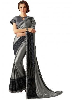 Lycra Trendy Saree in Grey