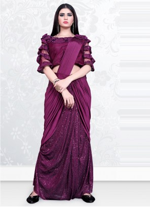 Lycra Wine Sequins Designer Saree
