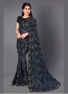 Dark Blue Lycra Woven Designer Saree