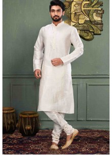 Machine Embroidery  Art Dupion Silk Kurta Pyjama in Off White