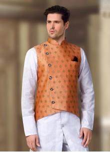 Machine Embroidery  Brocade Nehru Jackets in Orange