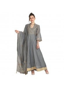 Machine Embroidery  Grey Viscose Party Wear Kurti