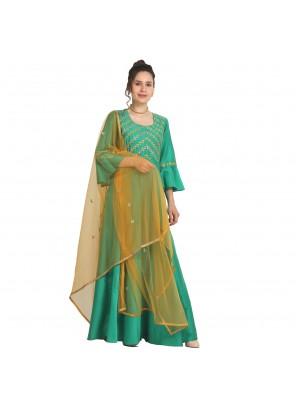 Machine Embroidery  Mehndi Party Wear Kurti