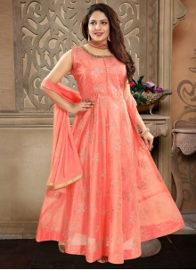 Machine Embroidery  Peach Readymade Anarkali Suit