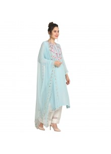 Machine Embroidery  Viscose Party Wear Kurti