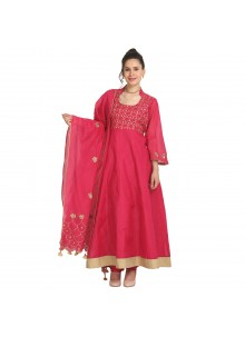 Machine Embroidery  Viscose Party Wear Kurti in Peach