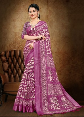 Magenta Abstract Print Cotton Printed Saree