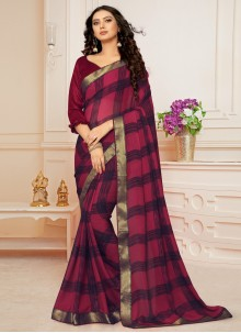 Magenta Abstract Print Faux Georgette Casual Saree