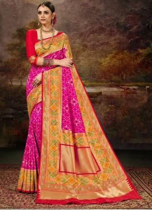 Magenta and Multi Colour Weaving Silk Saree