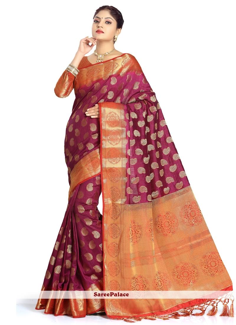 Magenta and Orange Zari Work Art Silk Designer Traditional Saree
