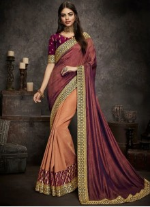 Magenta and Peach Art Silk Party Designer Half N Half Saree