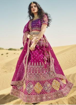 Magenta and Purple Resham Art Silk A Line Lehenga Choli