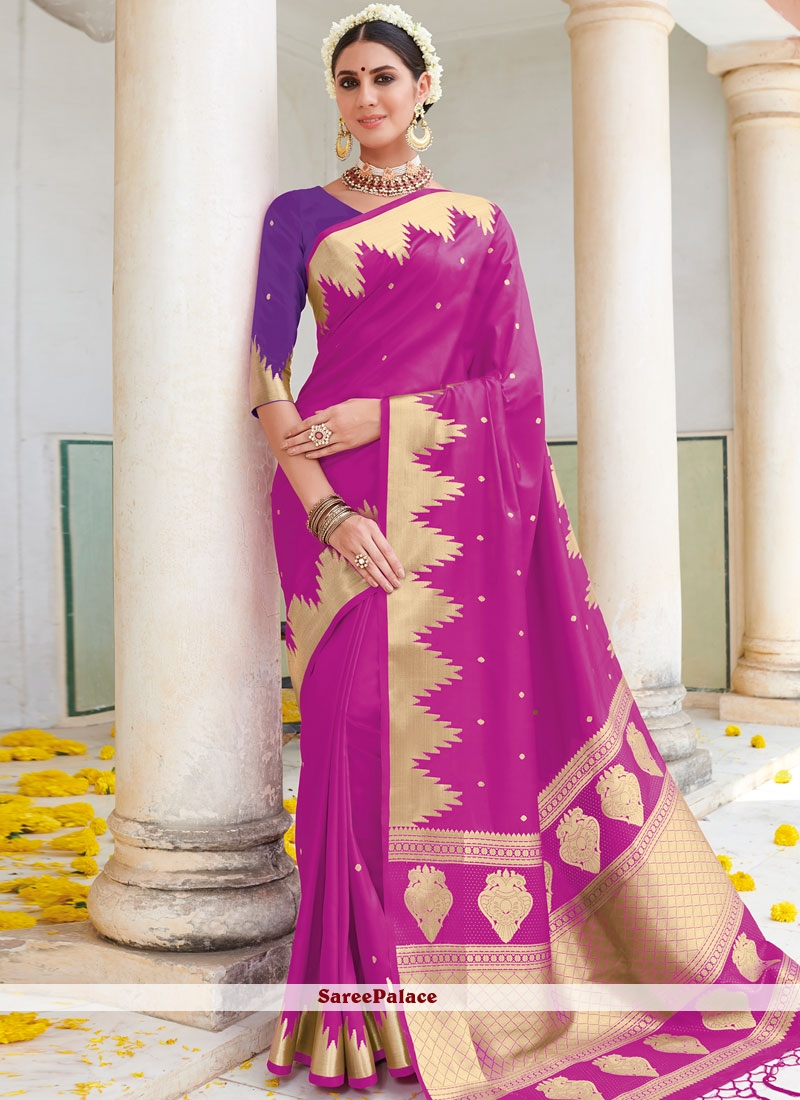 Magenta Art Silk Designer Traditional Saree