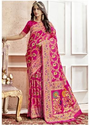 Magenta Art Silk Engagement Saree