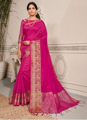 Magenta Banarasi Silk Weaving Traditional Saree