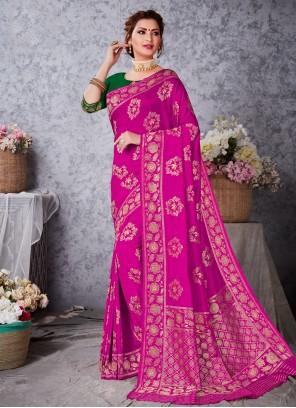 Magenta Color Traditional Designer Saree
