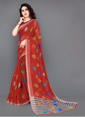 Magenta Cotton Trendy Saree
