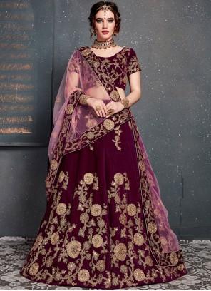 Magenta Embroidered Designer Lehenga Choli