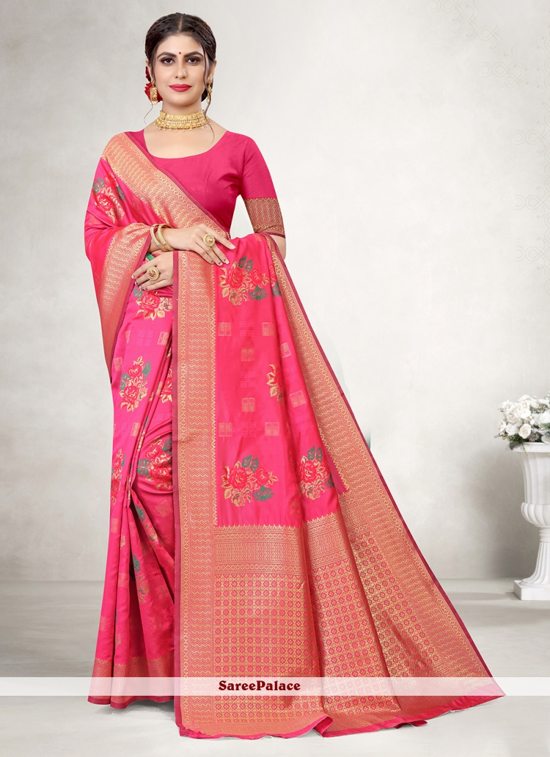 Magenta Embroidered Jacquard Silk Saree