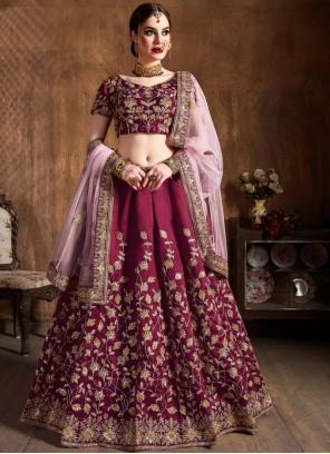 Magenta Embroidered Wedding Lehenga Choli