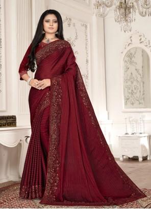 Magenta Fancy Fabric Designer Saree
