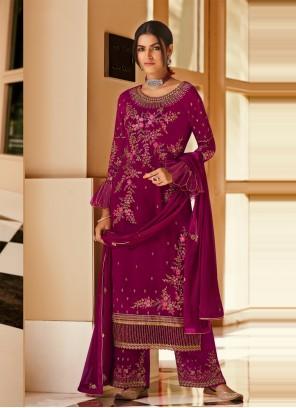 Magenta Faux Georgette Ceremonial Designer Pakistani Salwar Suit