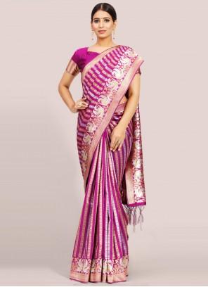 Magenta Festival Art Silk Traditional Designer Saree