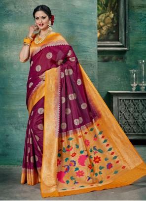 Magenta Festival Silk Classic Saree