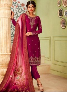 Magenta Georgette Party Pant Style Suit