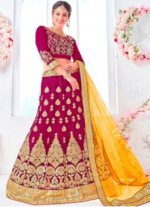 Magenta Net Wedding Lehenga Choli