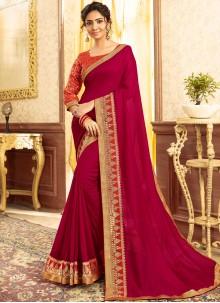 Magenta Patch Border Designer Traditional Saree