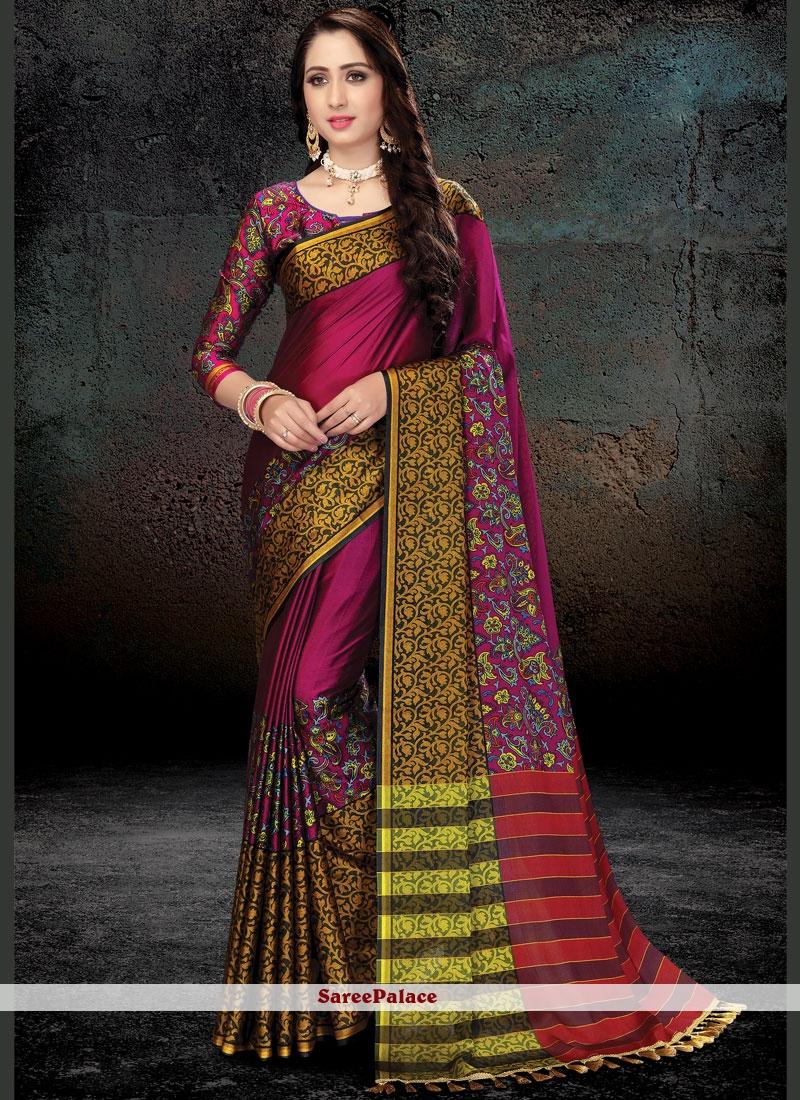Magenta Print Work Handloom silk Traditional  Saree