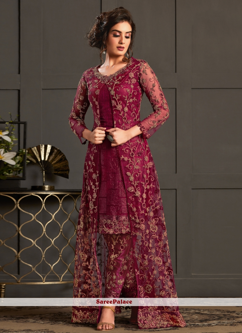 Magenta Resham Designer Floor Length Salwar Suit